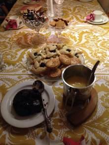 Xmas pudding, mince pies, joulutorttu (plum pastries), juustokakku (cheesecake), chocolate