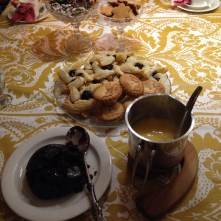 Xmas pudding, mince pies, joulutorttu (plum pastries), juustokakku (cheesecake), chocolate