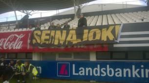 Lari and the interpid supporters in Iceland. Photo courtesy Antti Huhtamäki / SJK Media Team