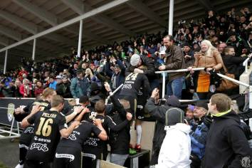 Fans & players celebrating the 2nd, decisive goal to win the Veikkausliiga. Photo courtesy Antti Huhtamäki / SJK Media Team