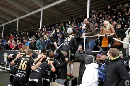 Fans & players celebrating the 2nd, decisive goal to win the Veikkausliiga. Photo courtesy Antti Huhtamäki / SJK Media Team