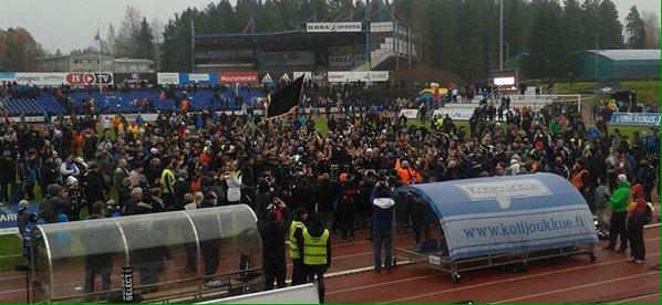 The town of Seinäjoki celebrates on the pitch! Photo courtesy Antti Huhtamäki / SJK Media Team