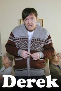 Actor Ricky Gervais behind the scenes filming of series Derek Sept 2012