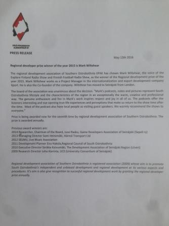 Press Release, Regional Developer of the Year