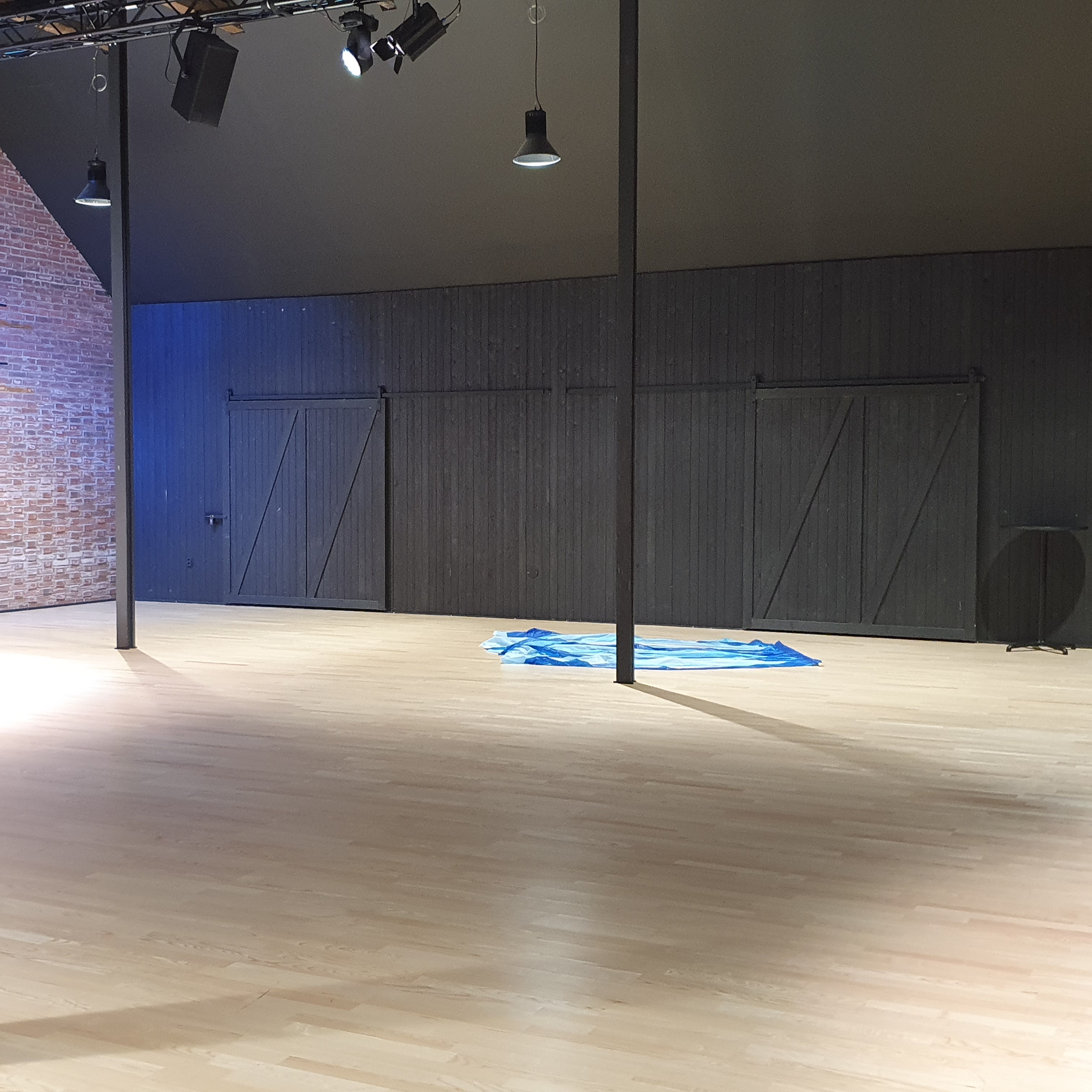 A view of Hugo Sali showing a light coloured wooden floor with a black wooden wall
