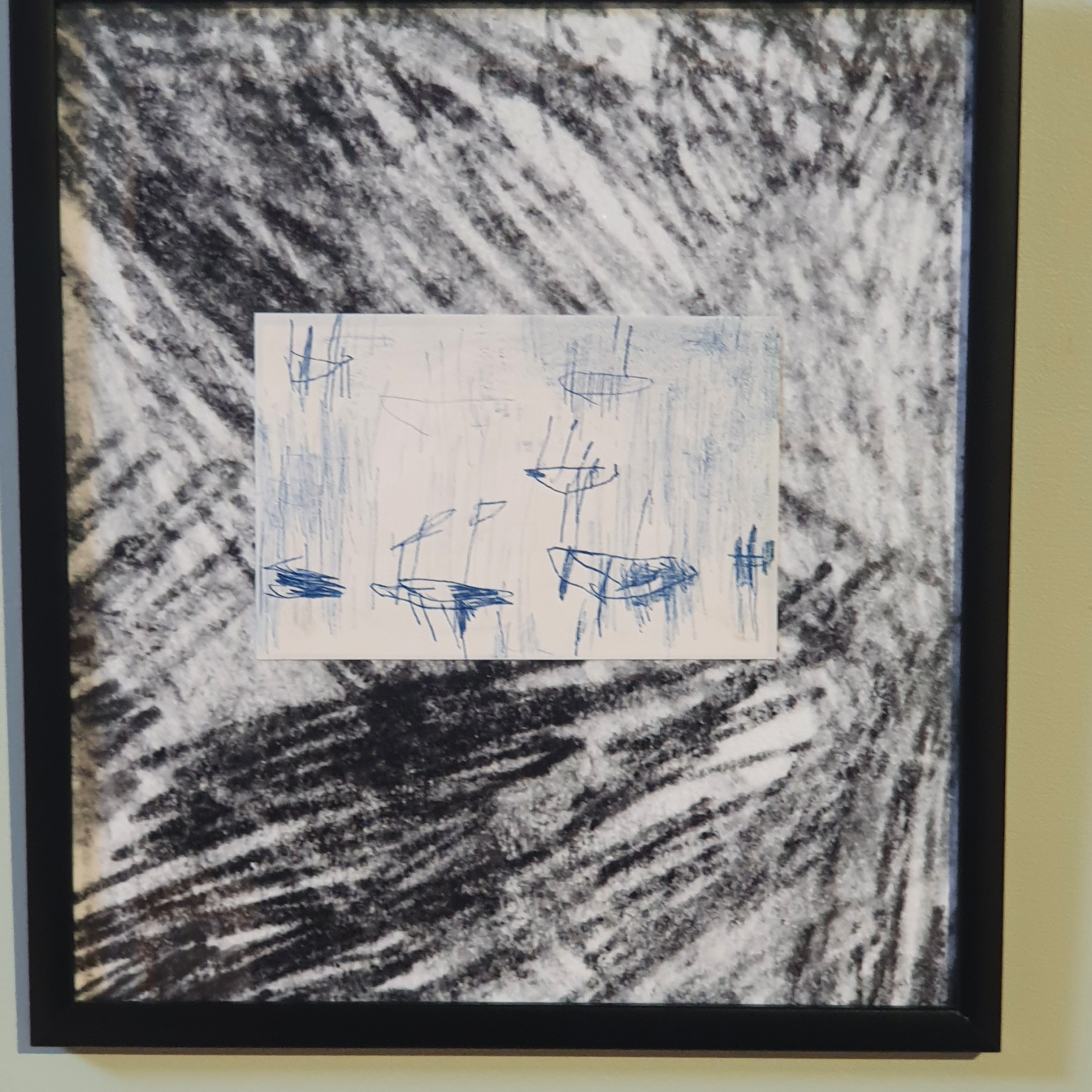 """Artwork from the """"Stump of Prometheus – Stay together"""" exhibition in a black frame"""