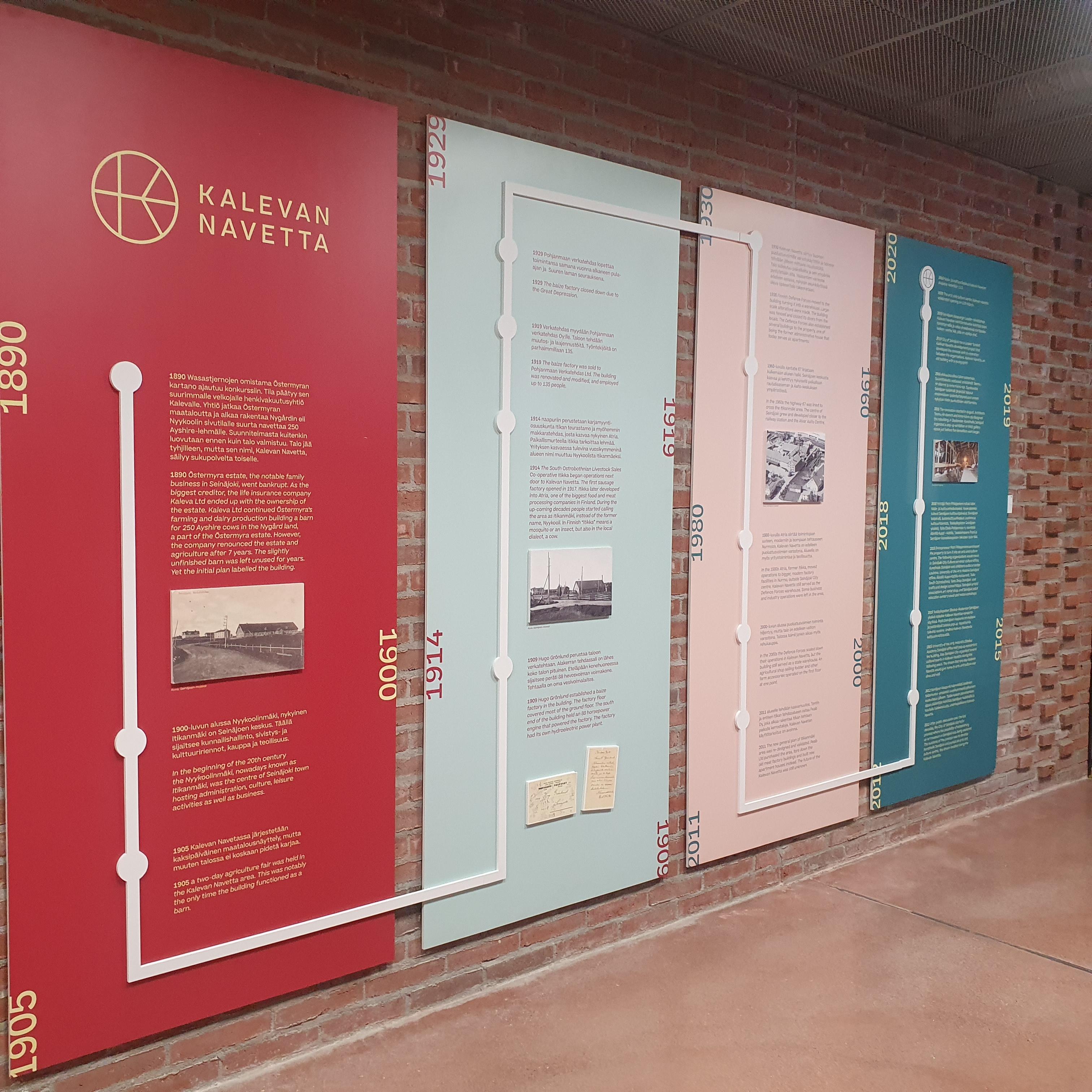 Info boards showing the timeline of Kalevan Navetta